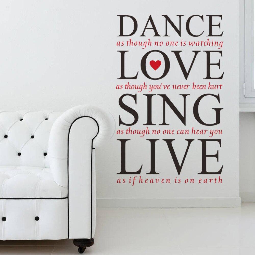 23 36 u0026 39  u0026 39  dance love sing live quotes wall decals vinyl wall