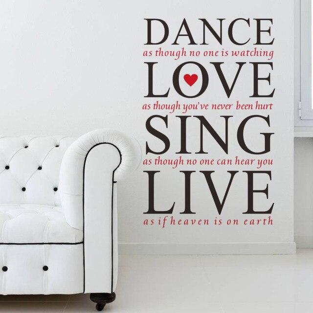 23*36u0027u0027 Dance Love Sing Live Quotes Wall Decals Vinyl Wall Stickers Bedroom