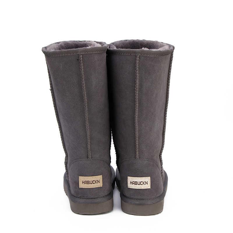 HABUCKN hohe schnee stiefel für frauen winter schuhe schaffell leder pelz gefüttert große mädchen hoch wolle oberschenkel winter stiefel schwarz