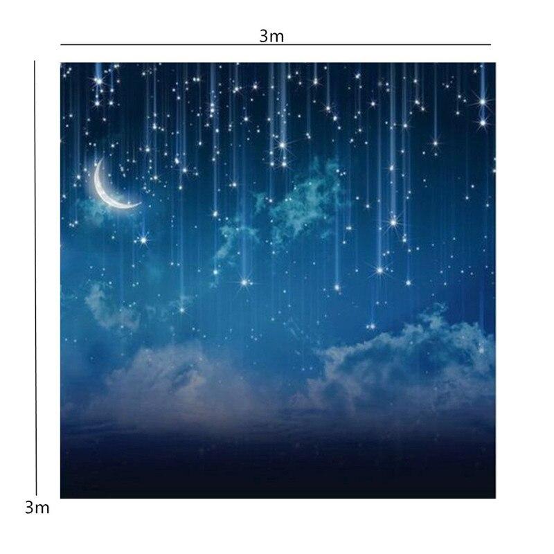 10x10FT Bleu Ciel Lune Glitter Star Night Personnalisé Photographie Fond Pour Studio Photo Props Photographique Décors en tissu - 6