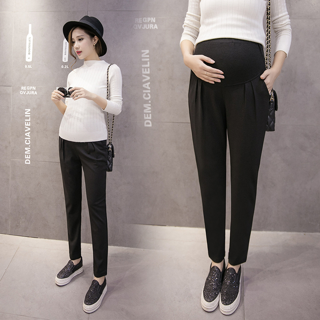 Korean pregnant women pants leggings outer wear trousers spring and autumn maternity care belly summer loose, casual pants