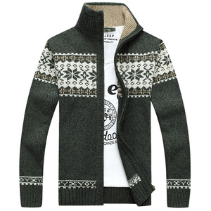 Image 2 - Christmas Sweater Winter New Pullover Snowflake Pattern Men s Leisure Cardigan Fashion Collar Male Thickening Wool Jacket