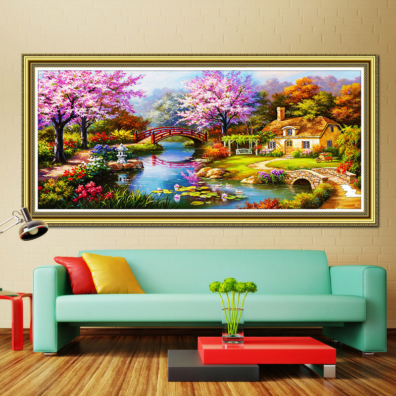 5D Diamond Painting Cross Stitch Lake House Scenery Diamond embroidery Crystal Special Shaped Round Rhinestone Mosaic