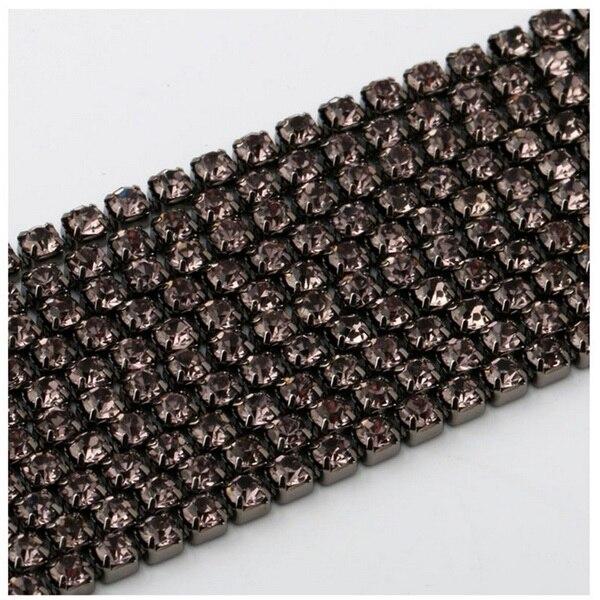 1 м/лот пришитые хрустальные стразы на цепочке SS6 SS8 SS10 SS12 Серебряная основа плотная коготь стеклянная отделка горного хрусталя DIY аксессуары - Цвет: Gray