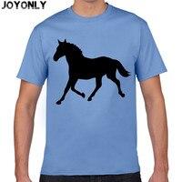 Joyonly 2016 Men Short Sleeve 100 Cotton T Shirt Cartoon Print Black Horse Pattern Print T