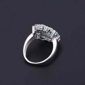 Image 4 - อัญมณีบัลเล่ต์ธรรมชาติ Sky Blue Topaz แหวนพลอย 925 เงินสเตอร์ลิงแหวนดอกไม้สำหรับเครื่องประดับ