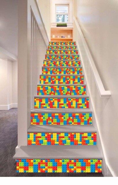 6pcs/set 18cm X 100cm Colorful Plaid Blocks Pattern Style Stair Sticker  Wall Decor LTT022