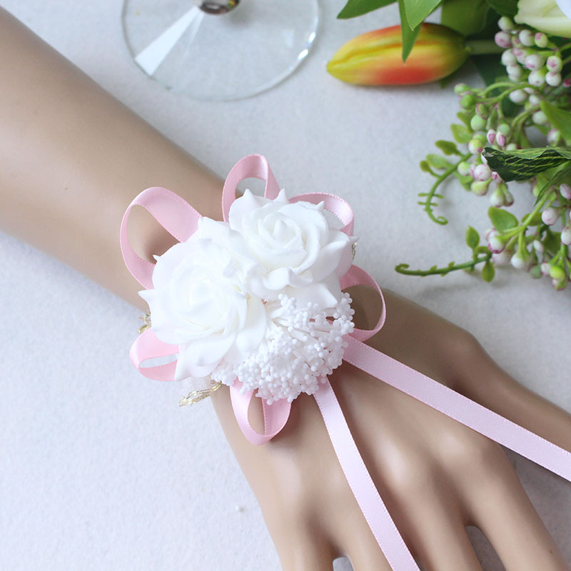 Wrist Flower Bridesmaid Hand Flowers wedding corsage  (7)