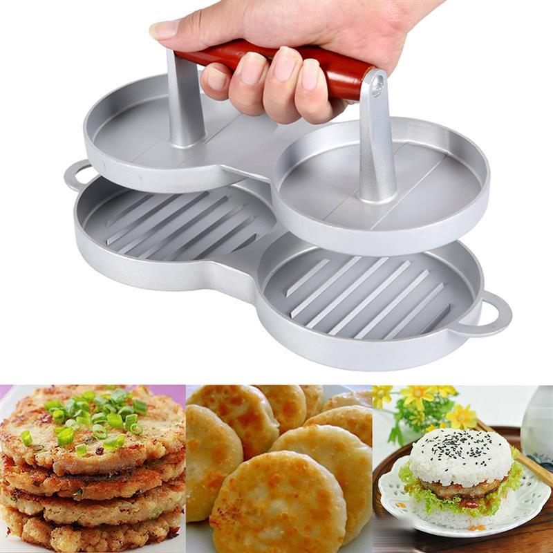 Nonstick cast aluminum Burger Maker Double Hamburger Press Meat Patties Hamburger Mold Patty Press Cooking Bar tool For 2 burger
