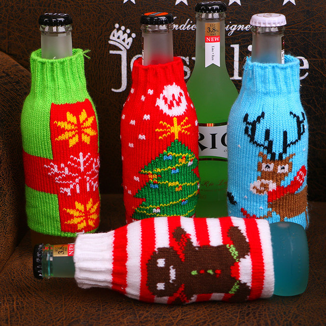 Christmas Decorations For Home Beer Bottle Knitted Cover Snowflake Custom Decorate Beer Bottles For Christmas