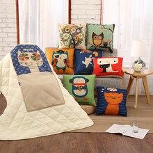 Giraffe Girl Cushion Quilt Cute Cartoon Animal Cushion Blanket for Sofa Office Square 40X40cm Home Decor Throw Pillows BZB002