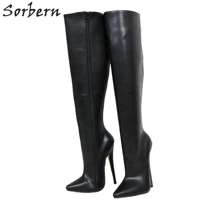 Sorbern Hard Shaft Knee High Boots Women Custom Wide Leg Calf Boots Unisex Big Size 18Cm