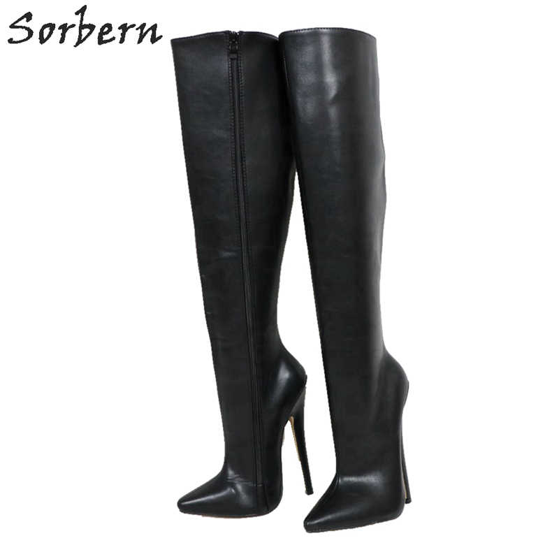 Sorbern Hard Shaft Knee High Boots Women Custom Wide Leg Calf Boots Unisex Big Size 18Cm Stiletto Vegan Boots Personalized Shaft