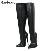 Sorbern Harde Schacht Knie Hoge Laarzen Vrouwen Custom Breed Been Kalf Laarzen Unisex Big Size 18Cm Stiletto Vegan Laarzen gepersonaliseerde As(China)