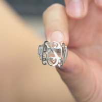 3 Initals interlaced Fashion Solid Ring Monogrammed Women Ring Men Personalized