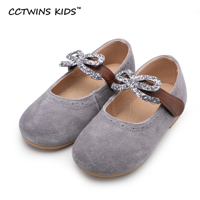 CCTWINS KIDS spring autumn children bow mary jane for baby girl rhinestone kids brand suede toddler genuine leather shoes flat