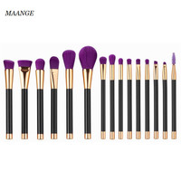 15PCS Professional MAANGE Foundation Powder Blush Makeup Brushes Maquillage Cosmetic Eyebrow Eyeshadow Eyeliner Make Up Brushes