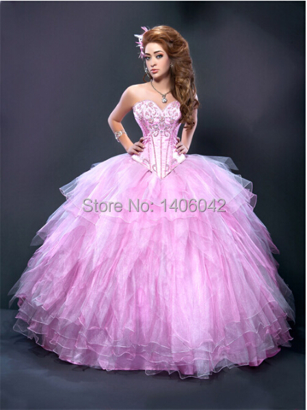 Free Shipping 2014 Pink Beading Quinceanera Dresses Ball