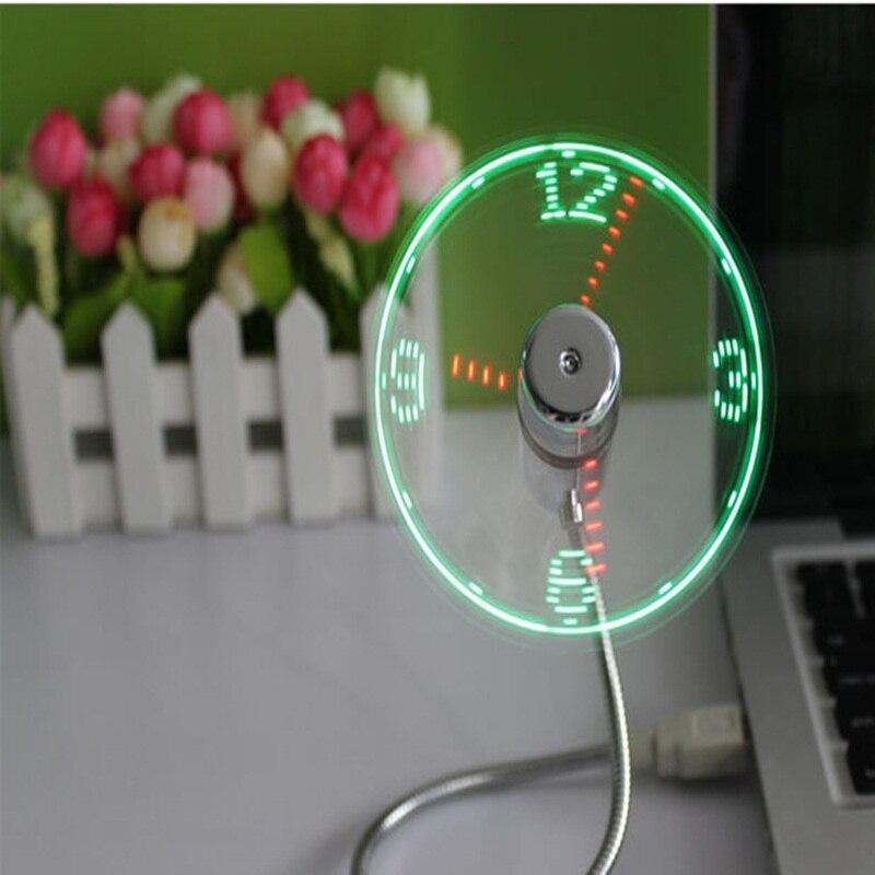 Kreativní USB Mini Flexibilní časový LED diodový ventilátor s LED světlem - Cool Gadget s LED světlem