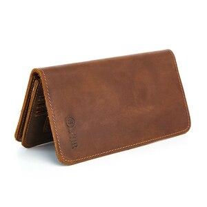Мужской Длинный кошелек, клатч из натуральной кожи, мужские бумажники, держатель для карт, винтажный стиль, Длинный кошелек, мужской кошелек...