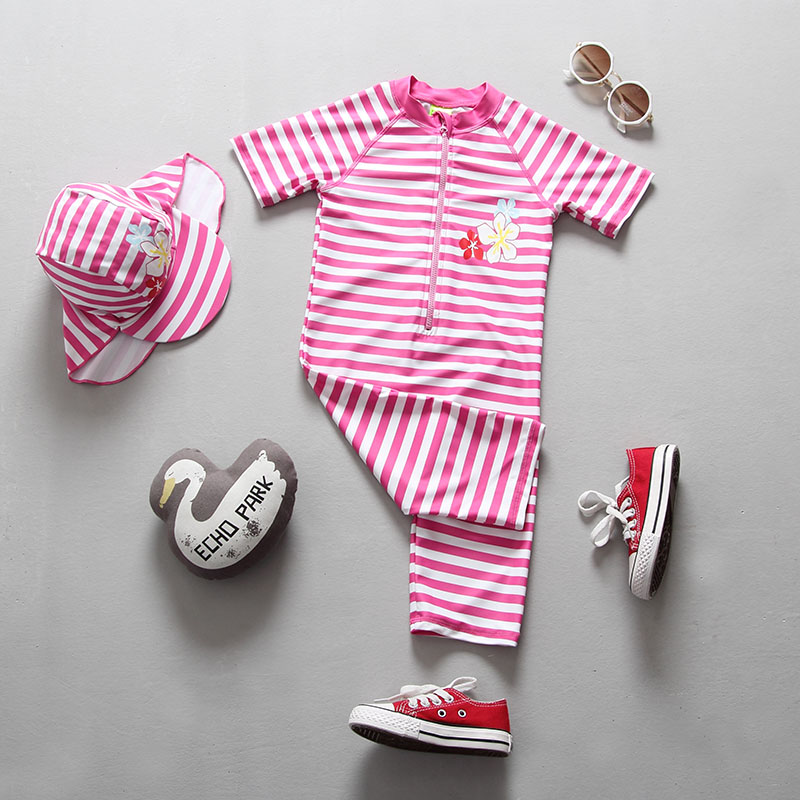 2018 Swimwear for Girls One Pieces Swimming Pool Suit Striped Pink Children Swimsuit Baby Girl Swimsuits Bathing Suit Bodysuit