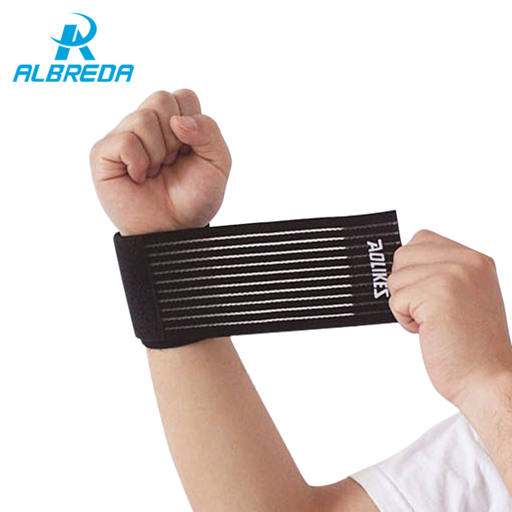 ALBREDA 1 piece Elastic Sport Bandage Wristband hand Gym Support wrist brace Wrap Tennis Cotton Weat band Fitness Powerlifting sport cotton wrist brace wrap support black