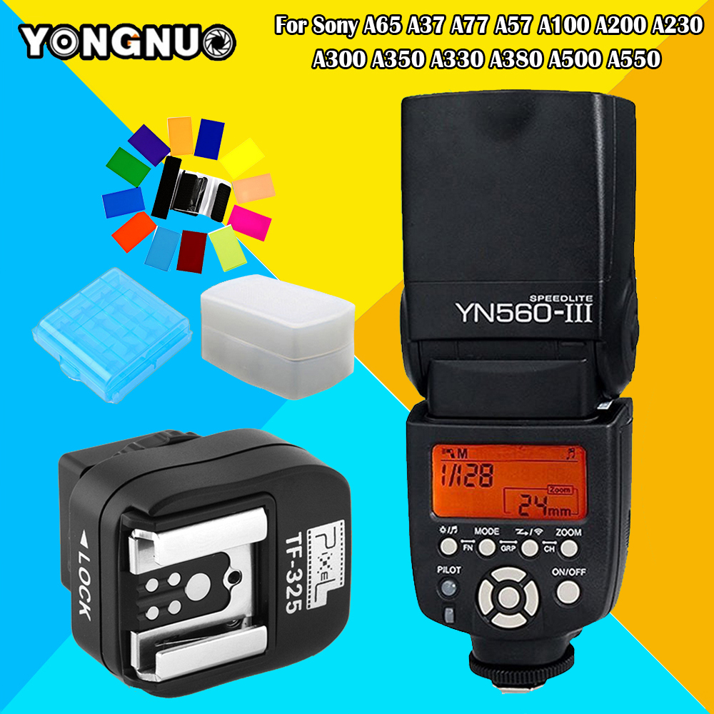 YONGNUO YN560III YN560 III Speedlite + PIXEL TF325 Adapter For Sony A65 A37 A77 A57 A100 A200 A230 A300 A350 A330 A380 A500 A550 polaroid optics cpl circular polarizer filter for the sony alpha dslr slt a33 a35 a37 a55 a57 a58 a65 a77 a99 a100 a200 a230 a290 a300 a330 a350 a380 a390 a450 a500 a560 a550 a700 a850 a900