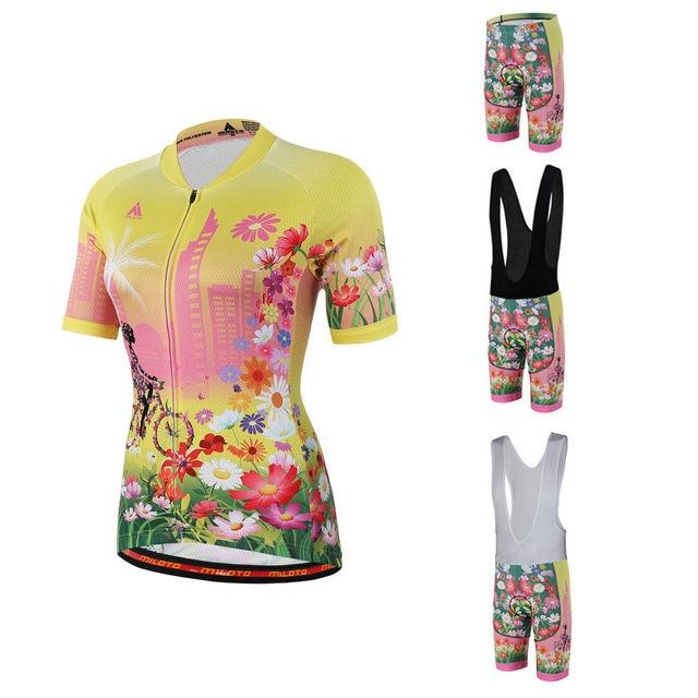 Women s Road Bike Clothing Ladies Bike Jersey and Mountain Bike Padded (Bib)  Shorts Cycling Kit Short Sleeve Flower S-5XL f2dea63c9