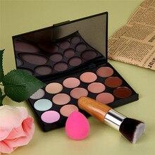 15 Color Concealer Palette + Flat Bamboo Foundation Brush + Sponge Puff Makeup Contour Palette Facial Cream Cover Blemish