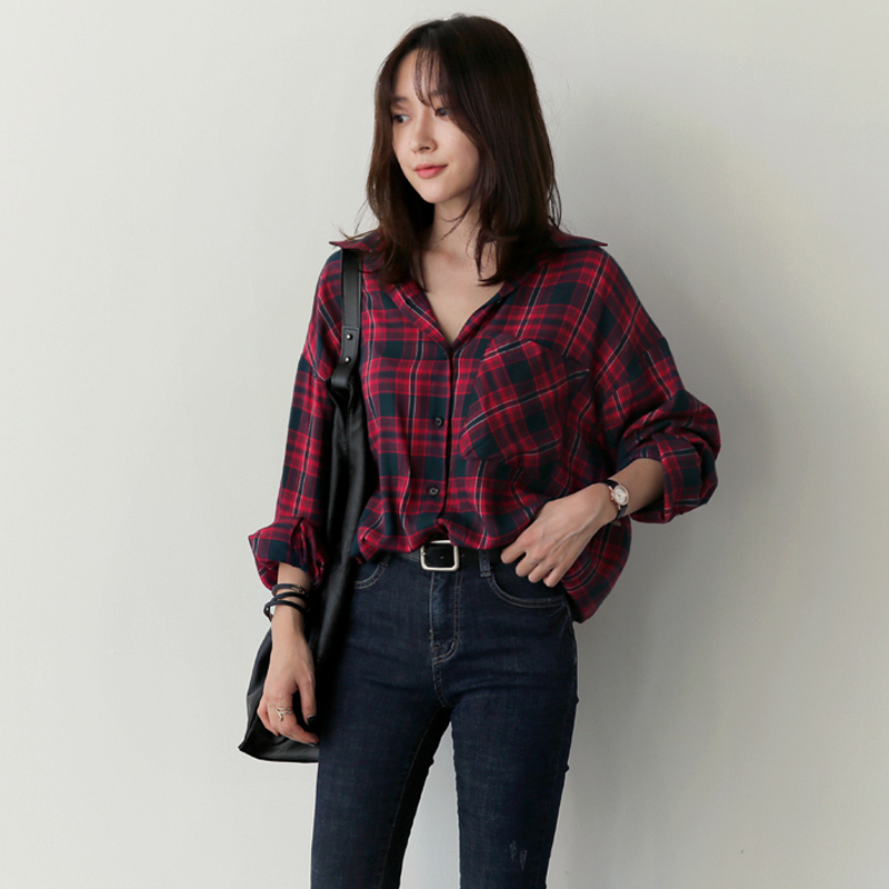 Blusas y Camisas Mujer Casual Plaid Shirt Women Tops Pockets Blouses Fashion Blouse Office Long Sleeve Shirts Vetement Femme