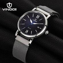 Vinoce мужская watche повседневная мода простой кварцевые часы водонепроницаемый кожаный ремешок Relogio люксовый бренд позолоченный ободок V6289G