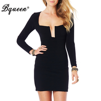 HEGO 2015 Autumn Winter Sexy Long Sleeve Deep V Neck Bodycon Club Bandage Dress H1417