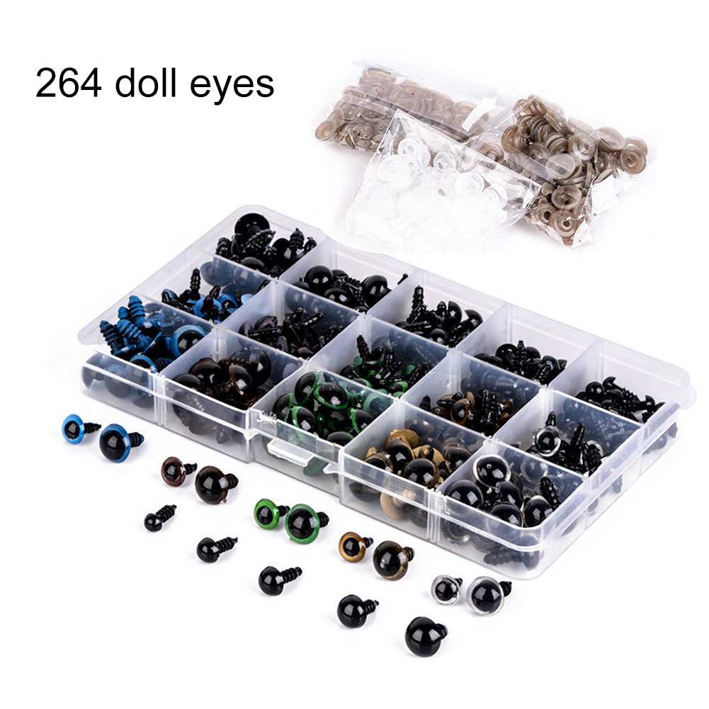 264 Pcs/Set Bear Doll Animal Plush Toy Craft Black Colorful Safety Eyes Plastic 6-12MM @ZJF стоимость