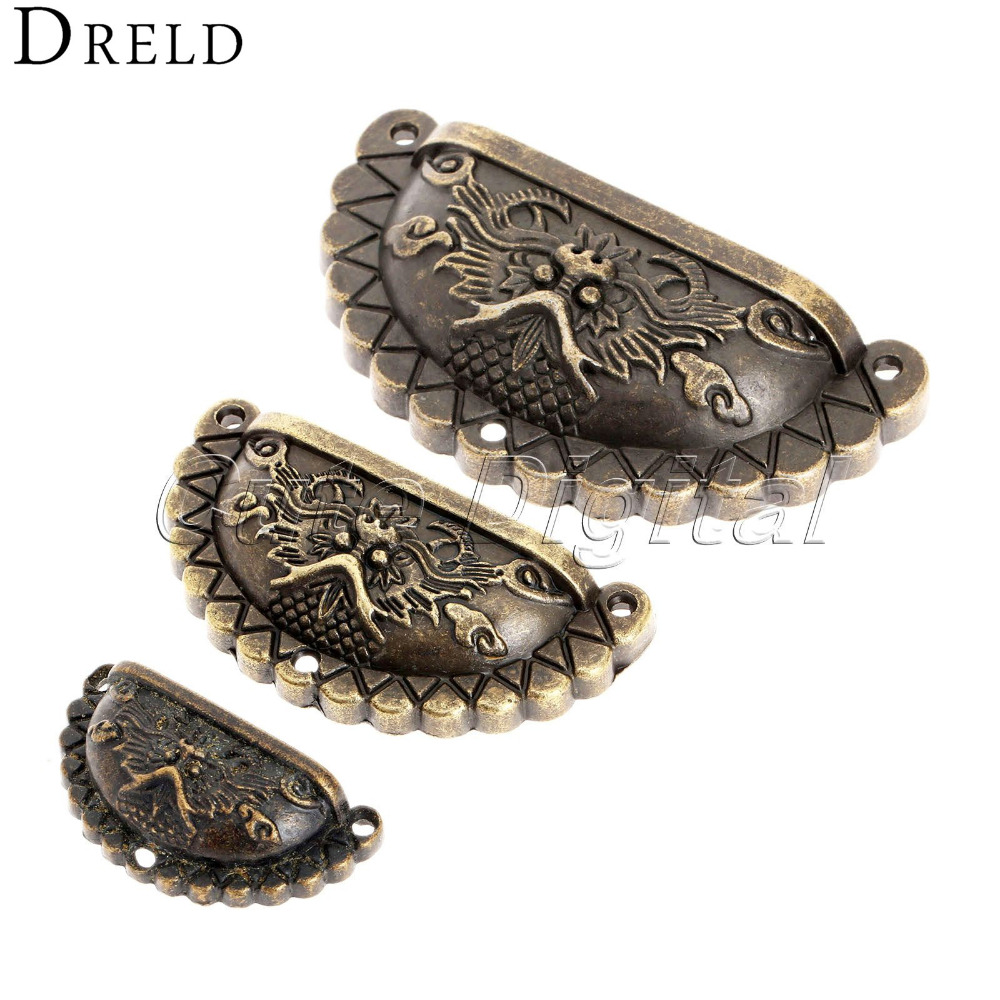 4Pcs Antique Furniture Handles Knobs and Pulls for Cabinet Dragon Shell Knobs Dresser Drawer Door Pull Handle Cupboard Handle 4pcs antique bronze furniture handles chinese vintage handle cabinet hareware dragon shell knobs dresser drawer pull handle knob