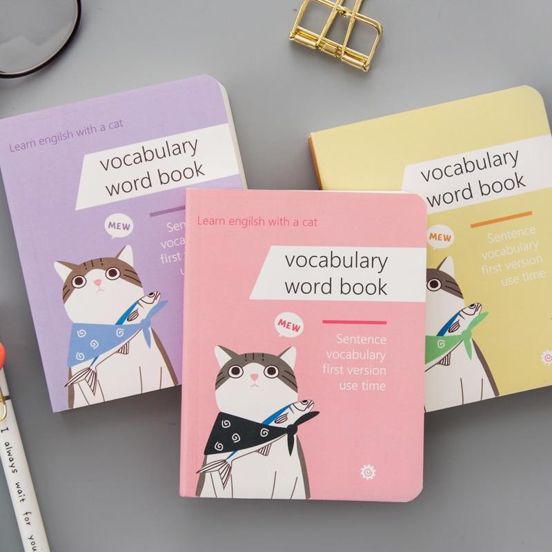 162 Sheets Pocket Mini Kawaii Cat Cartoon Students Vocabulary Word Notebook Kids Study Memo Pads Book School Stationery