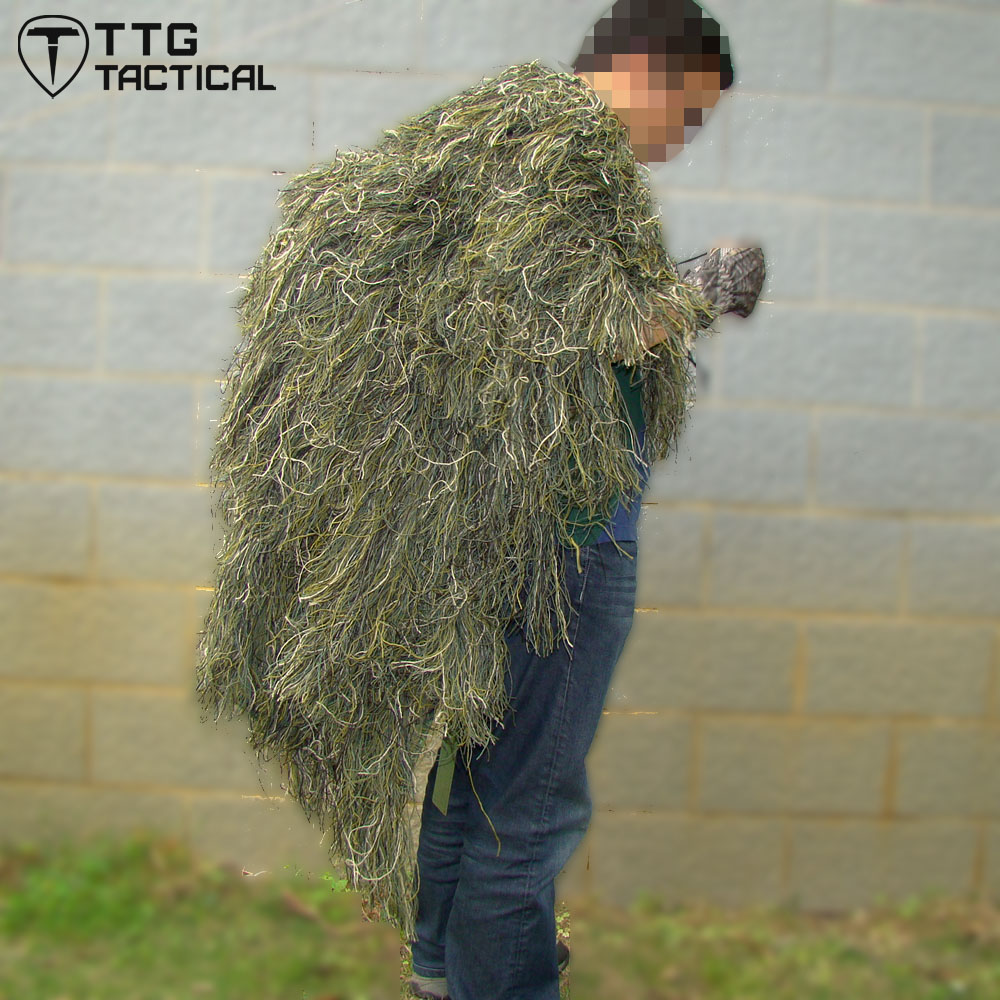 Ttgtactique Sniper Ghillie Poncho Camouflage tactique Sniper Ghillie Cape boisé et désert