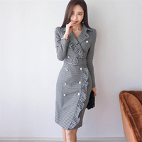 2018 New Women's Spring Korean OL Temperament Slim Houndstooth Double Breasted Ruffle Dress Autumn Plaid Dresses Women Z429