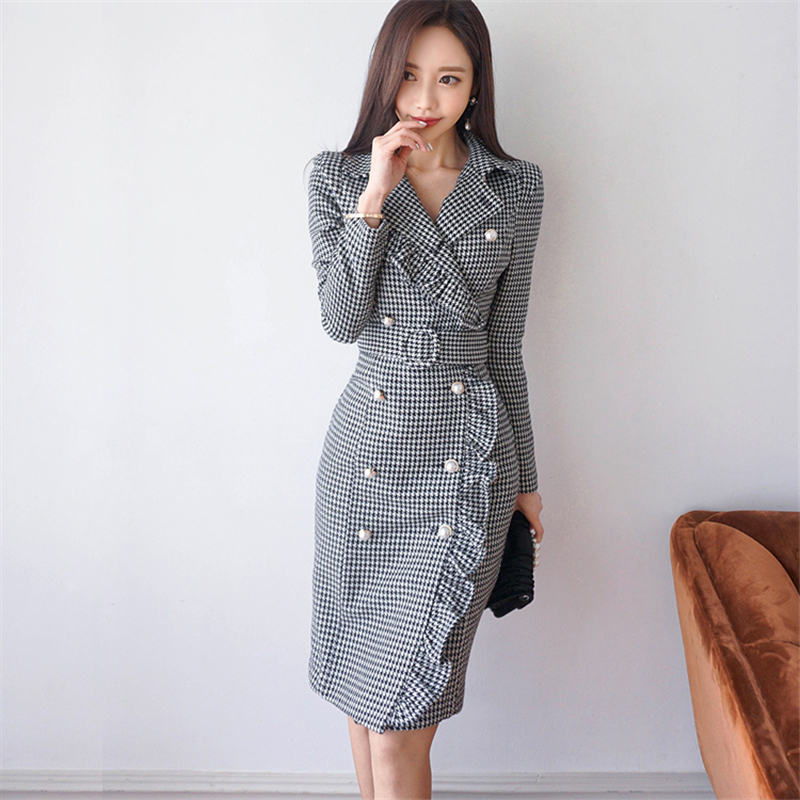 2018 New Womens Spring Korean OL Temperament Slim Houndstooth Double Breasted Ruffle Dre ...