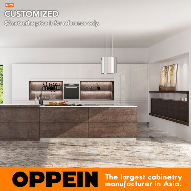 Modern Luxury Wooden Kitchen Cabinet With Natural Sintered Surface Island  (OP16 L22)