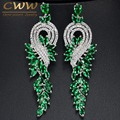 CWW Brand High Quality Rhodium Plated Austrian Crystal Bridal Long Green Drop Earrings Jewelry For Women CZ376