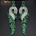 CWW Marca de Alta Qualidade Ródio Chapeado de Cristal Austríaco Nupcial Longo Verde Brincos Gota Jóias Para Mulheres CZ376