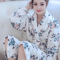 Women Bath Robe Flannel Floral Nightgowns Spa Bathrobe Bath Robe Homewear Female Long Sleeves Kimono Peignoir Womens Nightwear