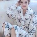 Mujeres Albornoz de Franela Floral Camisones Albornoz Spa Albornoz Homewear Manga Larga Mujer Kimono Bata ropa de Dormir Para Mujer