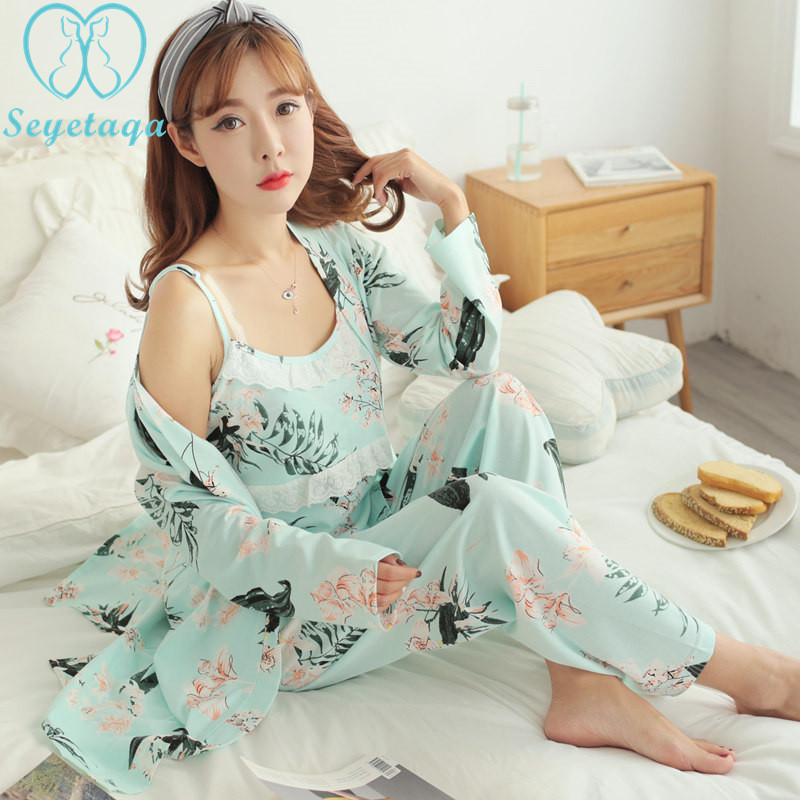 050# 3 PCS/Set Sexy Floral Print Cotton Maternity Nursing Nightwear Summer Autumn Sleepwear for Pregnant Women Pregnancy Pajamas ножницы diy page 8