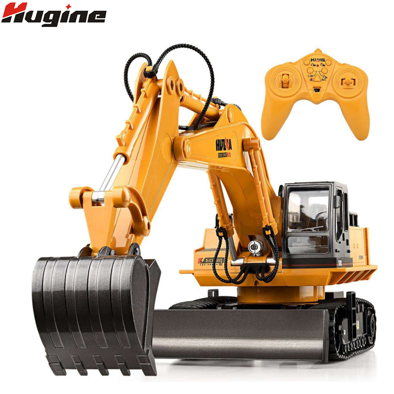 RC Truck 11CH Excavator Alloy 2.4G Backhoes Bulldozer Remote Control Digger Engineering Vehicle Model Electronic Kids Hobby Toys huina 1510 rc excavator car 2 4g 11ch metal remote control engineering digger truck model electronic heavy machinery toy