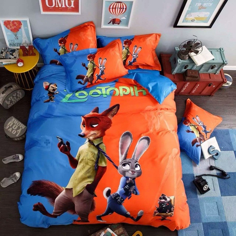 100 Cotton Cartoon Animation Zootopia 4pcs Bedding Sets