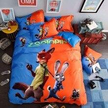 100% Cotton Cartoon Animation Zootopia 4pcs Bedding Sets Judy Nick 3D Kids Boy Bed sheet Duvet cover Pillowcase King Queen Size