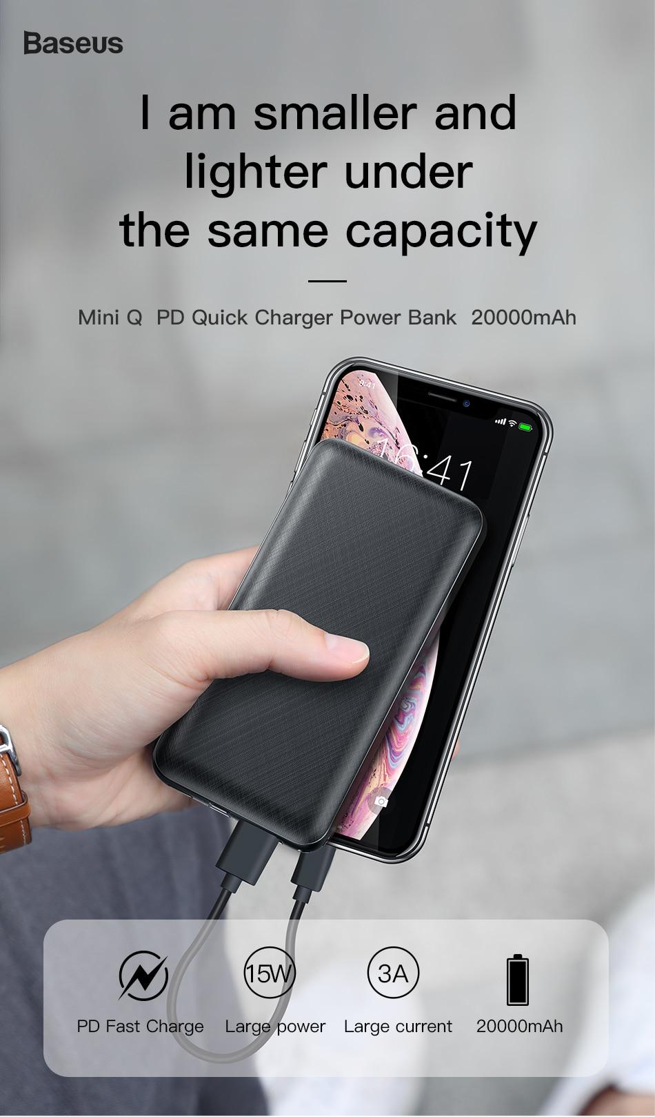 Baseus 20000mah PowerBank miniQ Power delivery www.brandtech.pk