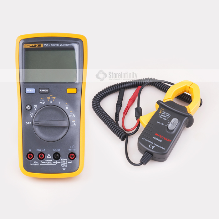 Fluke 15B+ Plus Auto Range Digital Probe Multimeter + MS3302 AC Current Transducer 0.1A-400A Clamp Meter mas tech pro mini mastech ms3302 ac current transducer 0 1a 400a clamp meter test hot sales