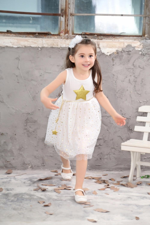 Summer children costume Kids Baby Girls Dress Stars Sequins Tulle Dresses Bow Toddler Tutu Party Princess Dress kids clothes 5